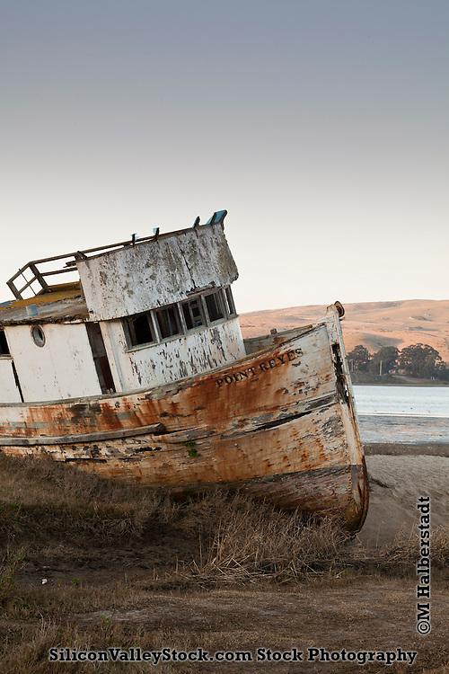 Stranded wreck of the Point Reyes near<br /> Inverness, California, USA