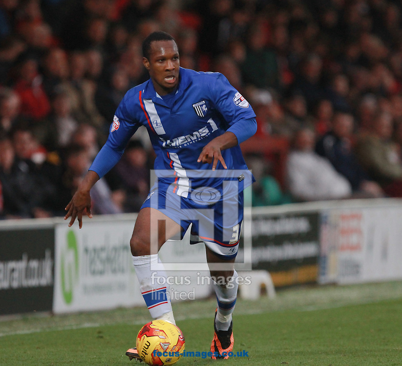 Gavin Hoyte of Gillingham during the Sky Bet League 1 match at the Highbury Stadium, Fleetwood<br /> Picture by John Rainford/Focus Images Ltd +44 7506 538356<br /> 01/11/2014