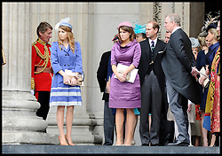 Princess Eugenie and Princess Beatrice  and Prince Andrew leave St Pauls Cathedral after the National Service of Thanksgiving celebrating the Queens Diamond Jubilee Tuesday June 5, 2012. Photo By Andrew Parsons/i-Images