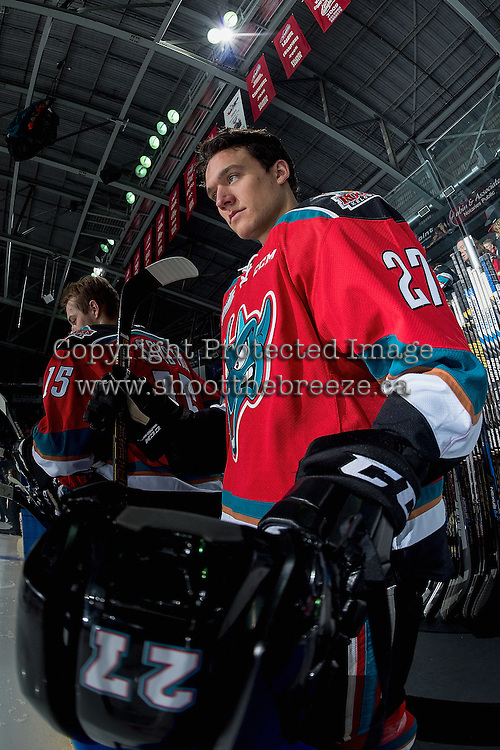 KELOWNA, CANADA - DECEMBER 3: Calvin Thurkauf #27 of the Kelowna Rockets stands on the bench during first period against the Brandon Wheat Kings on December 3, 2016 at Prospera Place in Kelowna, British Columbia, Canada.  (Photo by Marissa Baecker/Shoot the Breeze)  *** Local Caption ***