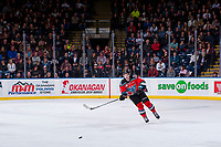 KELOWNA, CANADA - NOVEMBER 25: Libor Zabransky #7 of the Kelowna Rockets skates for the puck against the Medicine Hat Tigers on November 25, 2017 at Prospera Place in Kelowna, British Columbia, Canada.  (Photo by Marissa Baecker/Shoot the Breeze)  *** Local Caption ***