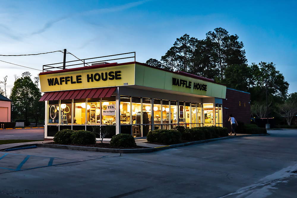 Waffel house on Gause Blvd W,  in Slidell, LA  serving take out only due to coronavirus pandemic.