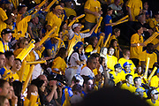 Golden State Warriors fans cheer during Game 2 of the NBA Finals against the Cleveland Cavaliers at Oracle Arena in Oakland, Calif., on June 4, 2017. (Stan Olszewski/Special to S.F. Examiner)