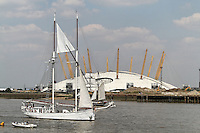 LONDON - JULY 25: A flotilla of around 14 Tall Ships sailed in convoy into London to inaugurate the maritime event 'Sail Royal Greenwich 2012'. July 25, 2012. (Photo by Richard Goldschmidt)