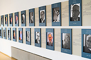 Interior of the Israeli Knesset commemoration wall commemorating past members of the house