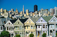 Alamo Square with downtown San Francisco behind, San Francisco, California USA
