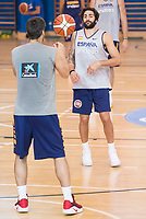 Ricky Rubio and Fernando San Emeterio during the Spain training session before EuroBasket 2017 in Madrid. August 02, 2017. (ALTERPHOTOS/Borja B.Hojas)