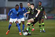 Liam Kitching in action during the EFL Sky Bet League 2 match between Macclesfield Town and Forest Green Rovers at Moss Rose, Macclesfield, United Kingdom on 25 January 2020.