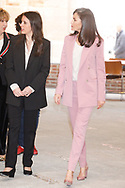 Queen Letizia of Spain, Irene Montero attends working meeting with APRAMP at Escuelas Pias on March 6, 2020 in Madrid, Spain
