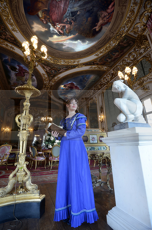 © Licensed to London News Pictures. 27/02/19. Amanda Sellers as the 5th Duchess of Rutland in the Elizabeth Saloon at Belvoir Castle in Leicestershire ahead of the season opening to the public on March 2nd. The castle is seat of the Duke of Rutland and is home to lavish staterooms including the Regents Gallery and the Roman inspired State Room.