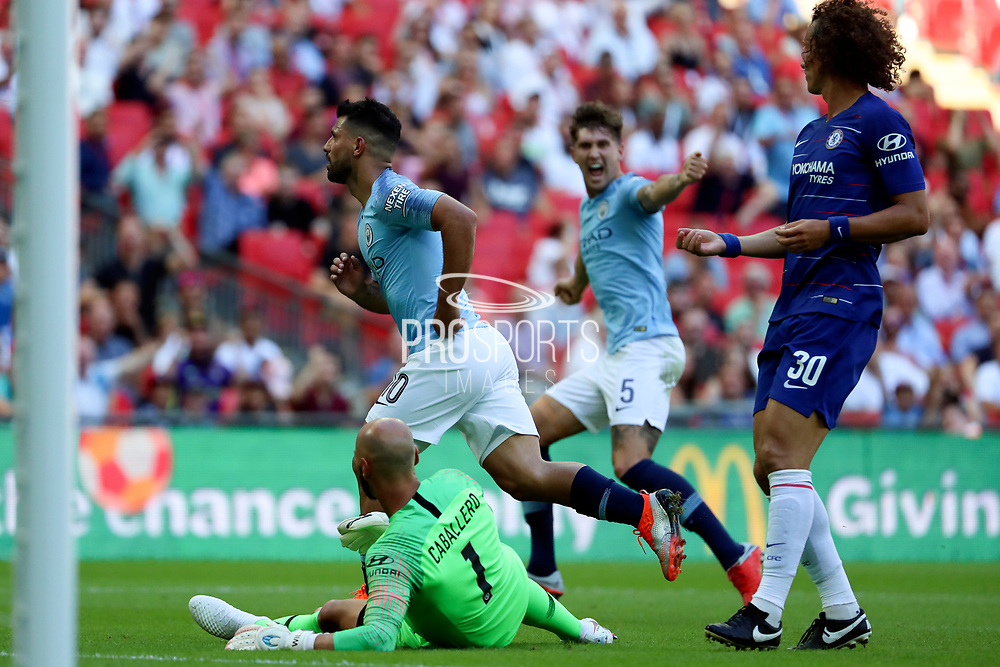 Manchester City Forward Sergio Aguero (10) celebrating after scoring goal to make it 2-0 during the FA Community Shield match between Chelsea and Manchester City at Wembley Stadium, London, England on 5 August 2018.