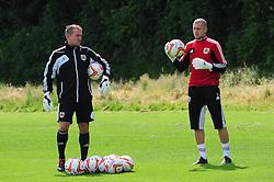 Goalkeeping coach, Lee Kendall and Bristol City's Frank Fielding - Photo mandatory by-line: Dougie Allward/JMP - Tel: Mobile: 07966 386802 27/06/2013 - SPORT - FOOTBALL - Bristol -  Bristol City - Pre Season Training - Npower League One