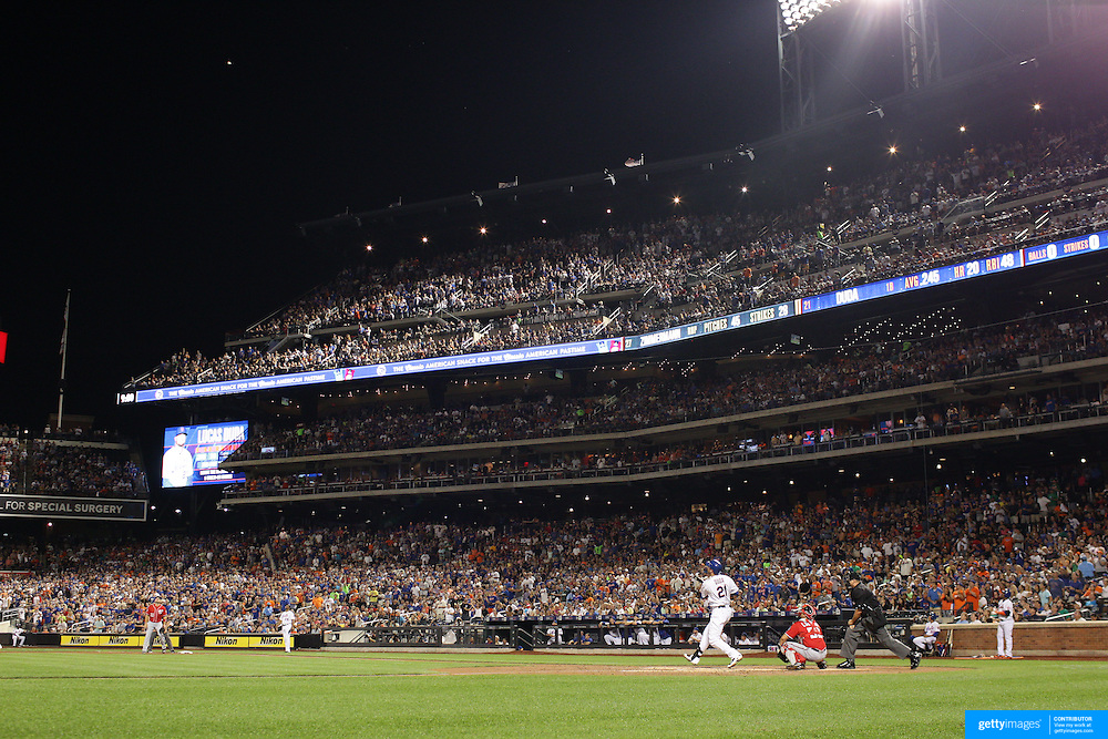 Lucas Duda, New York Mets, hits a two run home run in the bottom of the third during the New York Mets Vs Washington Nationals MLB regular season baseball game at Citi Field, Queens, New York. USA. 2nd August 2015. Photo Tim Clayton