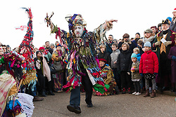 © Licensed to London News Pictures. 07/01/2018. London, UK. Actors from The Bankside Mummers group (the Lions part) take part in a procession and play near the Globe Theatre in central London, in celebration of Twelfth Night, marking the end of the twelve days of winter festivities. Twelfth Night celebrations in the traditional agricultural calendar mark a last chance to make merry before returning to the rigours of work on Plough Monday. Photo credit: Vickie Flores/LNP