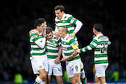 Celtic midfielder James Forrest (#49) celebrates Celtic's second goal (2-0) with Celtic midfielder Scott Brown (#8) during the Scottish Cup final match between Aberdeen and Celtic at Hampden Park, Glasgow, United Kingdom on 27 November 2016. Photo by Craig Doyle.