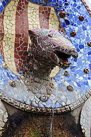 A mosaic sculpture within the grounds of Park Guell in Barcelona, Spain
