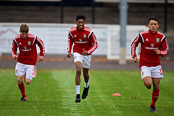 MERTHYR TYDFIL, WALES - Thursday, November 2, 2017: Wales' Liam Ihekwoaba during the pre-match warm-up before an Under-18 Academy Representative Friendly match between Wales and Newport County at Penydarren Park. (Pic by David Rawcliffe/Propaganda)