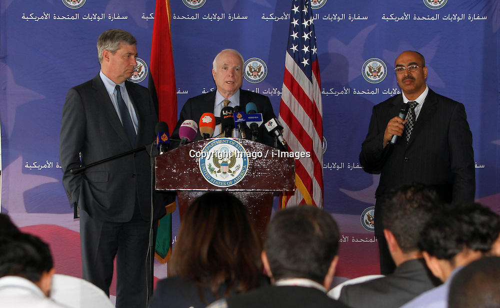 U.S. Senator John McCain speaks during a news conference during a visit to the Libyan capital Tripoli, April 4, 2013.. Photo by Imago / i-Images...UK ONLY..