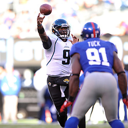 Quarterback David Garrard #9 of the Jacksonville Jaguars passes the ball during NFL football action between the New York Giants and Jacksonville Jaguars on Nov. 28, 2010 at MetLife Stadium in East Rutherford, N.J.