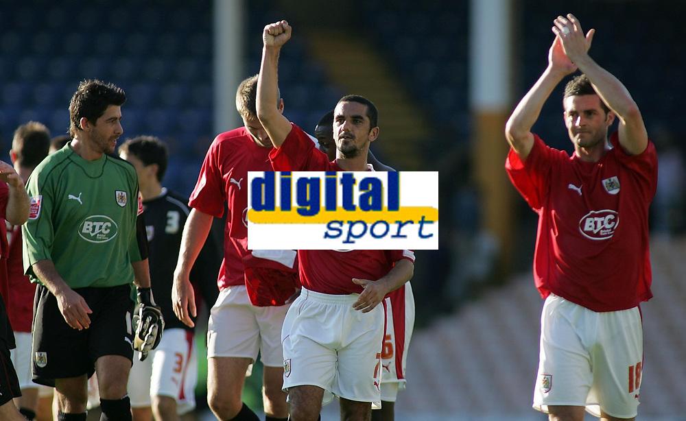 Photo: Paul Thomas.<br /> Port Vale v Bristol City. Coca Cola League 1. 23/09/2006.<br /> <br /> Scott Murray (C) and Bristol thank the travelling fans.