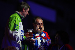 Fans of Slovenia during Ice Hockey match between National Teams of Slovenia and Poland in Round #2 of 2018 IIHF Ice Hockey World Championship Division I Group A, on April 23, 2018 in Budapest, Hungary. Photo by David Balogh / Sportida