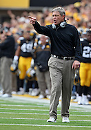 September 17, 2011: Iowa Hawkeyes head coach Kirk Ferentz during the first half of the game between the Iowa Hawkeyes and the Pittsburgh Panthers at Kinnick Stadium in Iowa City, Iowa on Saturday, September 17, 2011. Iowa defeated Pittsburgh 31-27.