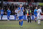 Brad Walker of Hartlepool United applauds his teams fans after the EFL Sky Bet League 2 match between Newport County and Hartlepool United at Rodney Parade, Newport, Wales on 28 January 2017. Photo by Andrew Lewis.