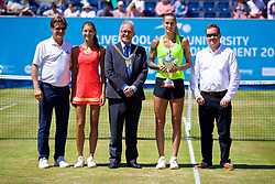 LIVERPOOL, ENGLAND - Sunday, June 18, 2017: Tournament Director Anders Borg, Corinna Dentoni (ITA), Lord Mayor of Liverpool is Councillor Malcolm Kennedy, Polona Hercog (SLO) and sponsor after the Women's Final on Day Four of the Liverpool Hope University International Tennis Tournament 2017 at the Liverpool Cricket Club. (Pic by David Rawcliffe/Propaganda)