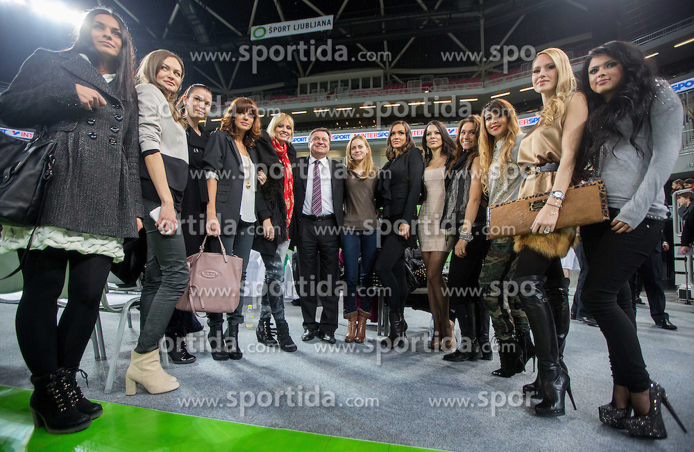 Slovenian Top fashion Models and Mayor of Ljubljana Zoran Jankovic presenting calendar after the basketball match between KK Union Olimpija and Buducnost Voli Podgorica in 13 Round of ABA League, on December 17, 2012 in Arena Stozice, Ljubljana, Slovenia. Union Olimpija defeated Buducnost after 3 overtimes 95-92. (Photo By Vid Ponikvar / Sportida.com)