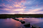 Shap stepping stones, sunset, River Lowther, Shap, Eden Valley, Cumbria, England, Uk