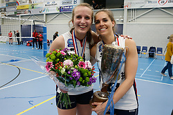 20190424 NED: Sliedrecht Sport - VC Sneek: Sliedrecht<br /> Sliedrecht Sport Nederlands Kampioen Volleybal Seizoen 2018 - 2019, Esther Hullegie (3) of Sliedrecht Sport, Esther van Berkel (7) of Sliedrecht Sport <br /> ©2019-FotoHoogendoorn.nl / Pim Waslander