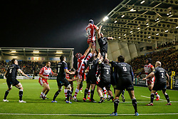 Gloucester Flanker Tom Savage and Newcastle Lock Dom Barrow compete at the lineout - Photo mandatory by-line: Rogan Thomson/JMP - 07966 386802 - 21/11/2014 - SPORT - RUGBY UNION - Newcastle upon Tyne, England - Kingston Park - Newcastle Falcons v Gloucester Rugby - Aviva Premiership.