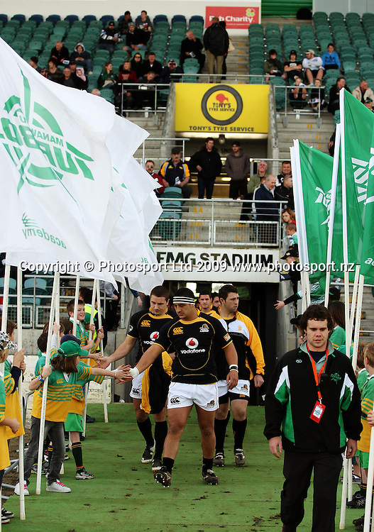 Wellington reserves Arden David-Perrot, Scott Fuglistaller and Ged Robinson walk out onto the field.<br /> Air NZ Cup preseason - Manawatu Turbos v Wellington Lions at FMG Stadium, Palmerston North, New Zealand, Friday 17 July 2009. Photo: Dave Lintott/PHOTOSPORT