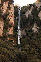 The near vertical funical line leading to the mountains above the Montserrat monastery near Barcelona, Spain