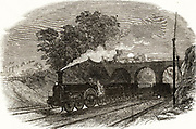 A mail train on which letters were sorted while it travelled through the night between cities, replacing the need for the horse-drawn mail coaches.  From 'The Illustrated London News', January, 1849.