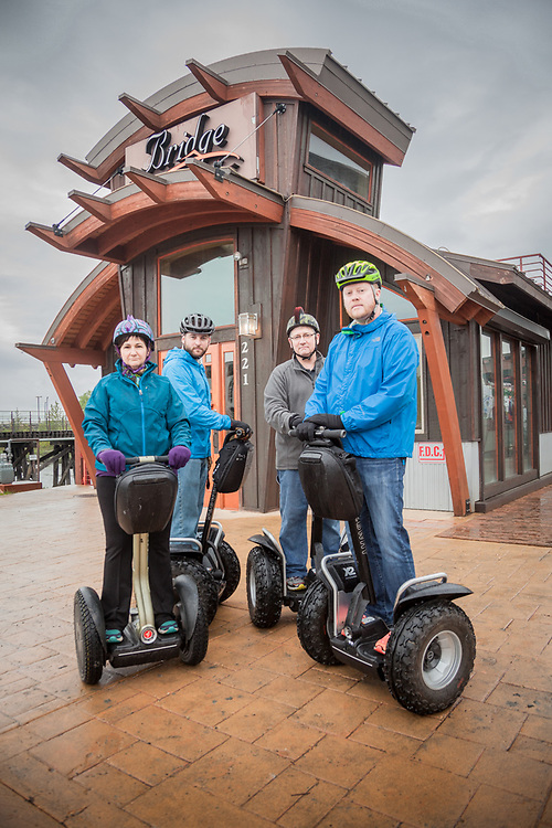 Betty, Chad, Don and Sheron in front of the Bridge Restaurant during their Segway tour of downtown Anchorage  chad@bearsquare.net