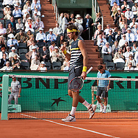 5 June 2009: Juan Martin Del Potro of Argentina celebrates during the Men's Singles Semi Final match on day thirteen of the French Open at Roland Garros in Paris, France.