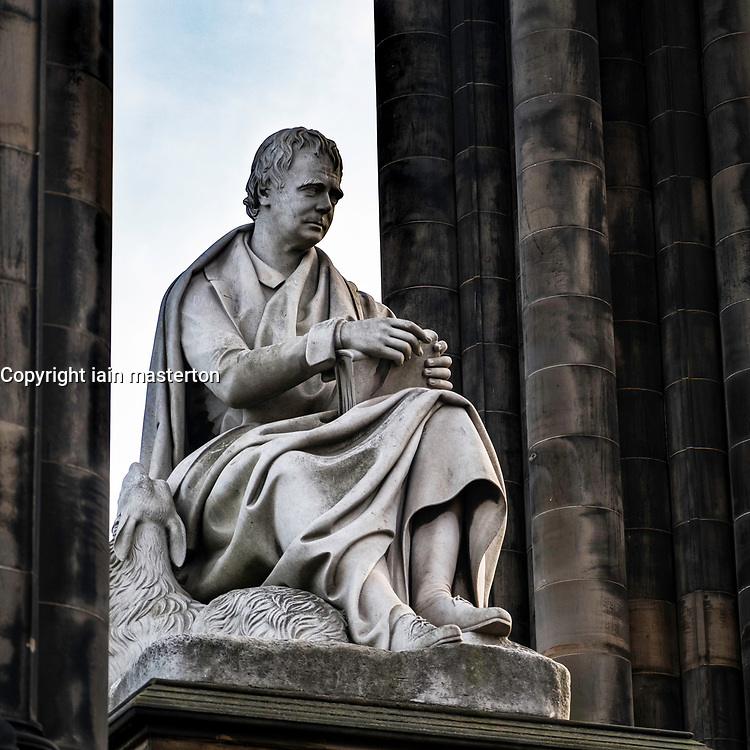 View of statue of Walter Scott at Scott Monument, Edinburgh, Scotland, United Kingdom,.