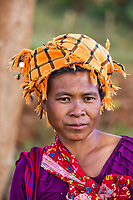 KALAW, MYANMAR - DECEMBER 07, 2016 : woman Shan tribe portrait  near Kalaw in Myanmar (Burma)