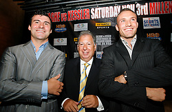 September 4, 2007; New York, NY, USA; WBA/WBC Super Middleweight Champion Mikkel Kessler (r) and WBO Super Middleweight Champion Joe Calzaghe (l) pose with the Sport Networks Ed Simons at the press conference announcing their November 3, 2007 fight.  The fight will take place at the Millennium Stadium, Cardiff, Wales, United Kingdom.