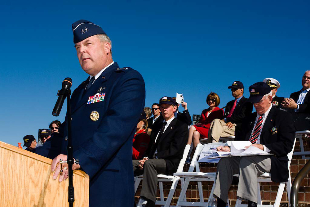 Keynote speaker MajGen Robert E. Duignan, USAF, addresses the crowd during a special ceremony for the late actor Jimmy Stewart at the Mt. Soledad Veterans Memorial in La Jolla, California on November 08, 2008.