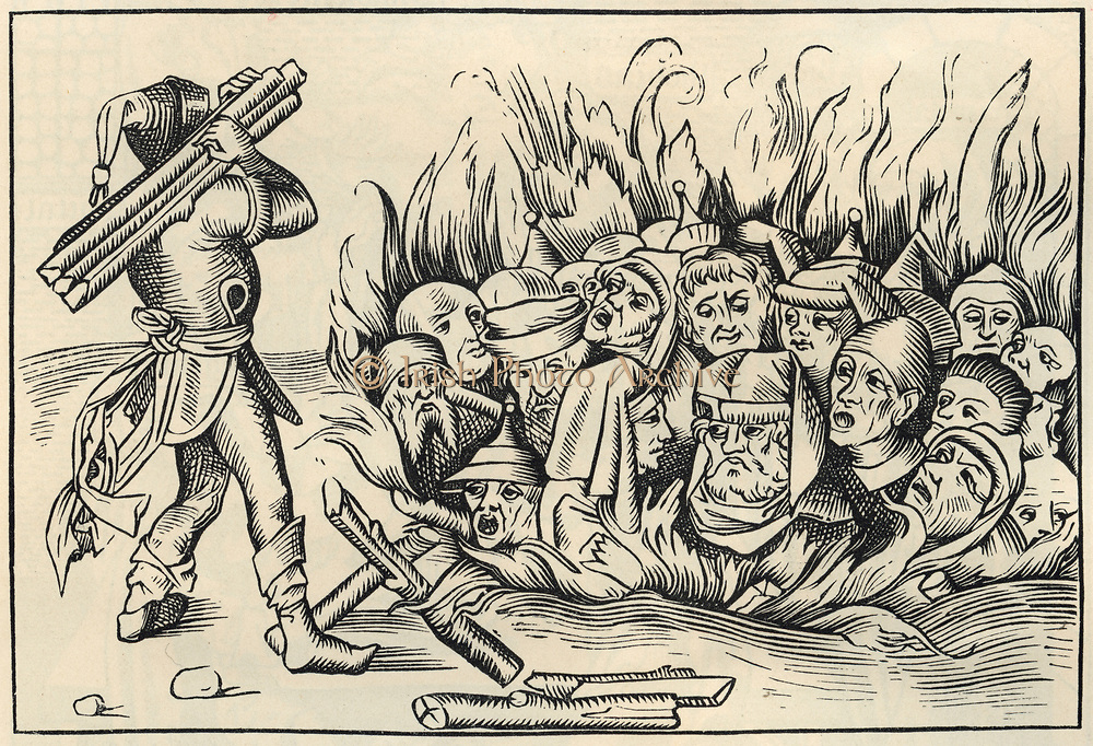 Jews of Cologne burnt alive after being tortured. Punishment after they were accused of profaning a pyx. Woodcut from 'Liber chronicarum mundi', 1493.
