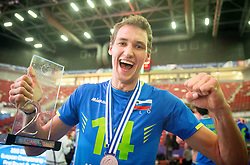 Jan Pokersnik #14 of Slovenia celebrates at trophy ceremony after placed 2nd after volleyball match between National teams of Slovenia and France at Final match of 2015 CEV Volleyball European Championship - Men, on October 18, 2015 in Arena Armeec, Sofia, Bulgaria. Photo by Vid Ponikvar / Sportida
