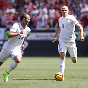 Michael Bradley, (right),  and Brad Davis, USA, in action during the US Men's National Team Vs Turkey friendly match at Red Bull Arena.  The game was part of the USA teams three-game send-off series in preparation for the 2014 FIFA World Cup in Brazil. Red Bull Arena, Harrison, New Jersey. USA. 1st June 2014. Photo Tim Clayton