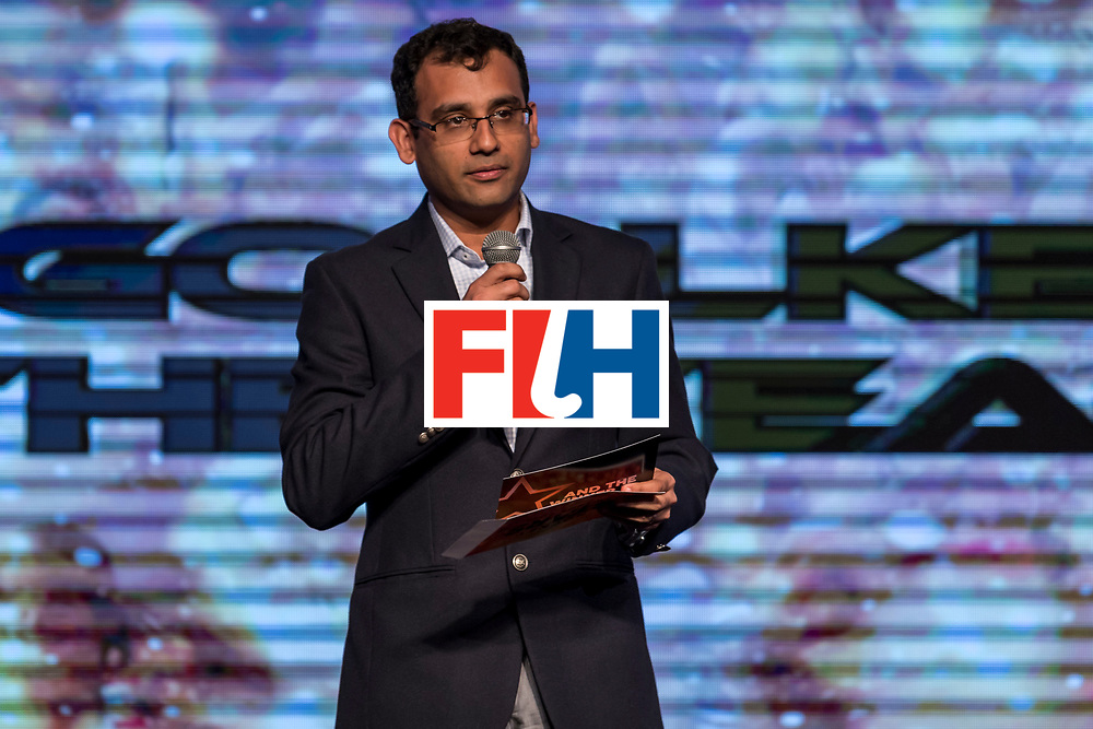 CHANDIGARH, INDIA - FEBRUARY 23: Nitin Kukreja of Star Sports speaks during the FIH Hockey Stars Awards 2016 at Lalit Hotel on February 23, 2017 in Chandigarh, India. (Photo by Ali Bharmal/Getty Images for FIH)