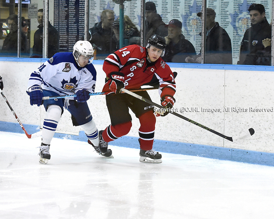 MARKHAM, - Feb 26, 2016 -  Ontario Junior Hockey League game action between Stouffville and Markham at the Markham Centennial Community Centre, ON. Marco Azzano #91 of the Markham Royals battles for control with Josh Argier #14 of the Stouffville Spirit during the third period.<br /> (Photo by Andy Corneau / OJHL Images)