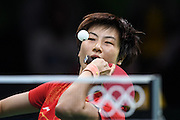 RIO DE JANEIRO, BRAZIL - AUGUST 15: <br /> <br /> Ding Ning of China competes during the Table Tennis Women\'s Team Round Semi Final between China and Singapore during Day 10 of the Rio 2016 Olympic Games at Riocentro - Pavilion 3 on August 15, 2016 in Rio de Janeiro, Brazil. <br /> ©Exclusivepix Media