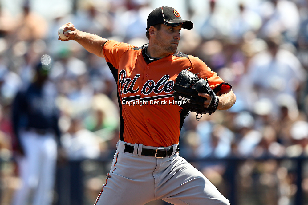 March 20, 2011; Port Charlotte, FL, USA; Baltimore Orioles starting pitcher Brad Bergesen (35) during a spring training exhibition game against the Tampa Bay Rays at Charlotte Sports Park.   Mandatory Credit: Derick E. Hingle