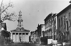 The old classical St George's Cathedral at the top od St George's Street in 1859.Photographer unknown