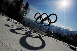 The XXII Winter Olympic Games 2014 in Sotchi, Olympics - Olympische Winterspiele Sotschi 2014,<br /> The olympic rings at Cross Country stadium *** Local Caption *** © pixathlon